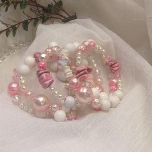 Lady Rose Lane Jewelry - Gypsy Beaded Wrap Around Bracelet, Pink/White